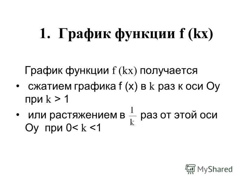 1. График функции f (kx) График функции f (kx) получается сжатием графика f (х) в k раз к оси Оу при k > 1 или растяжением в раз от этой оси Оу при 0< k <1