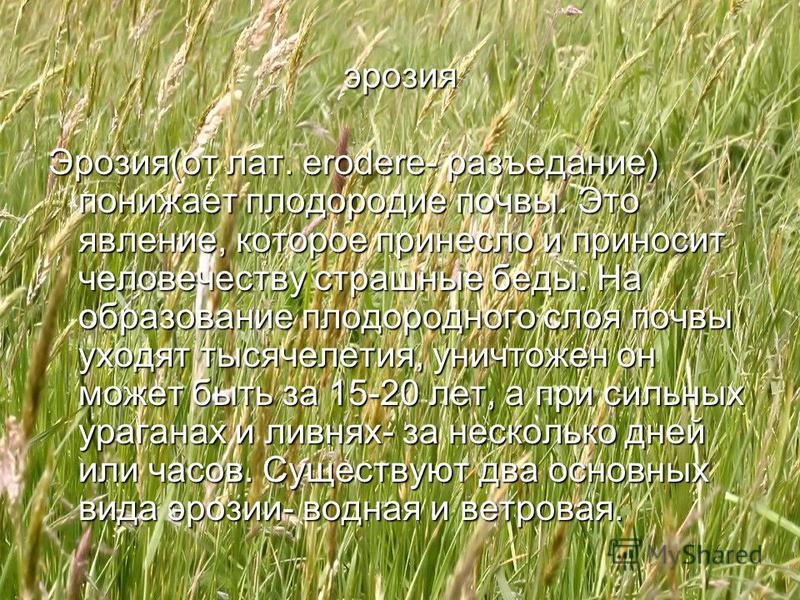 эрозия Эрозия(от лат. erodere- разъедание) понижает плодородие почвы. Это явление, которое принесло и приносит человечеству страшные беды. На образование плодородного слоя почвы уходят тысячелетия, уничтожен он может быть за 15-20 лет, а при сильных