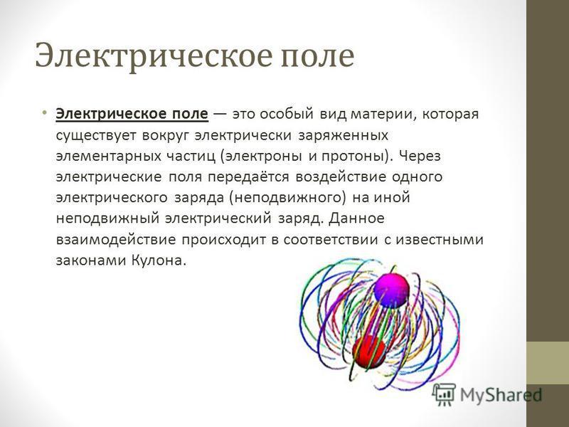 Электрическое поле Электрическое поле это особый вид материи, которая существует вокруг электрически заряженных элементарных частиц (электроны и протоны). Через электрические поля передаётся воздействие одного электрического заряда (неподвижного) на
