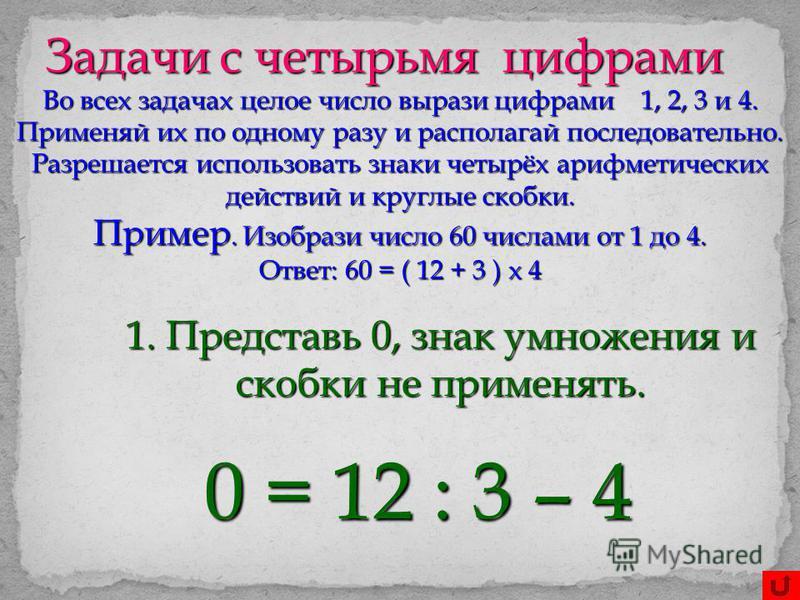 Задачи с четырьмя цифрами Во всех задачах целое число вырази цифрами 1, 2, 3 и 4. Применяй их по одному разу и располагай последовательно. Разрешается использовать знаки четырёх арифметических действий и круглые скобки. Пример. Изобрази число 60 числ