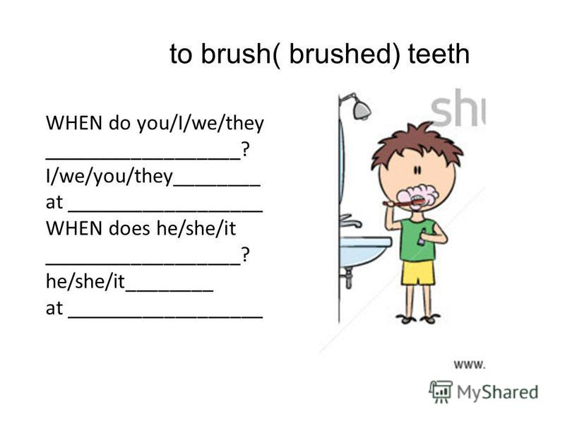 to brush( brushed) teeth WHEN do you/I/we/they __________________? I/we/you/they________ at __________________ WHEN does he/she/it __________________? he/she/it________ at __________________