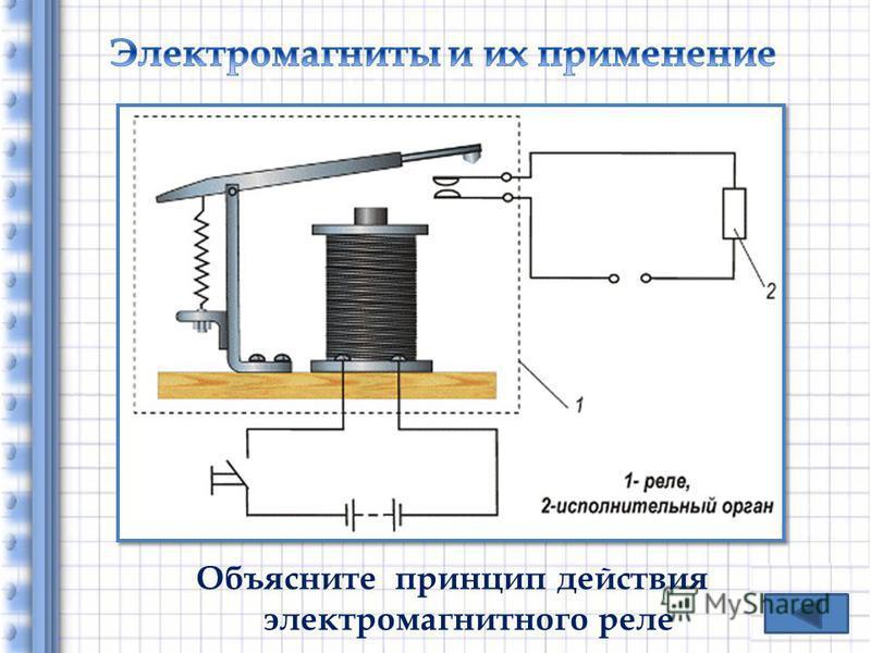Объясните принцип действия электромагнитного реле