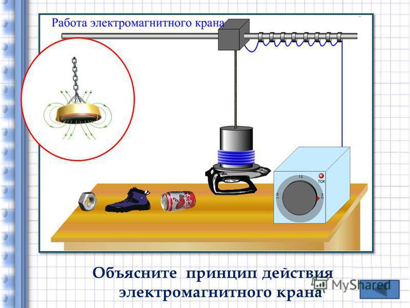 Объясните принцип действия электромагнитного крана