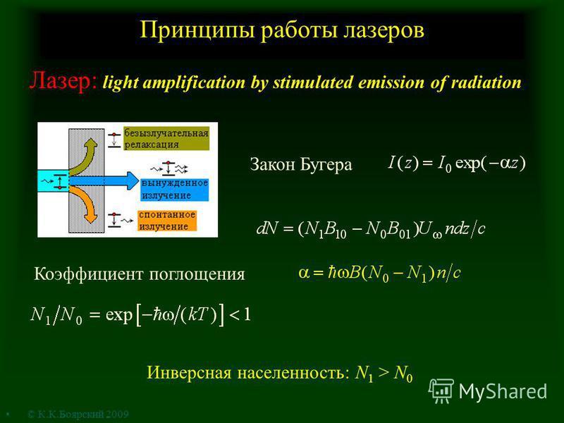 Принципы работы лазеров Закон Бугера Коэффициент поглощения Инверсная населенность: N 1 > N 0 Лазер: light amplification by stimulated emission of radiation © К.К.Боярский 2009