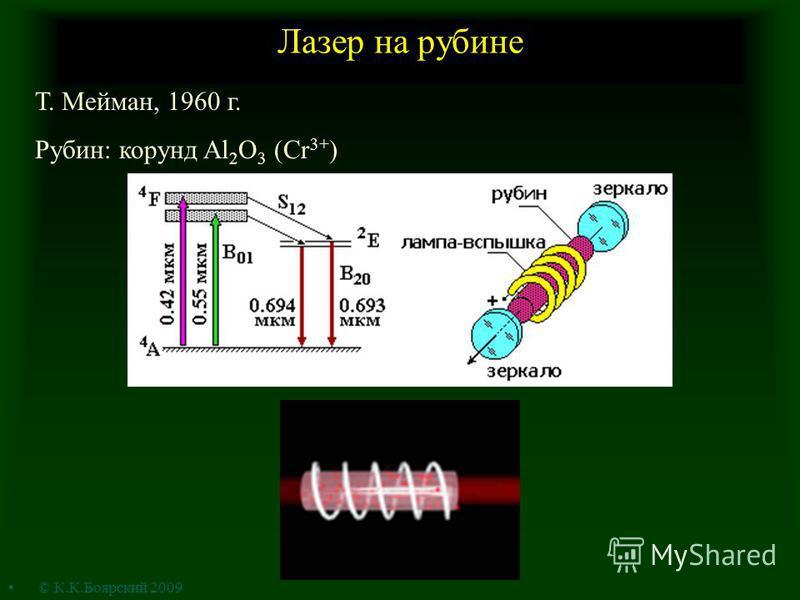 Лазер на рубине Т. Мейман, 1960 г. Рубин: корунд Al 2 O 3 (Cr 3+ ) © К.К.Боярский 2009