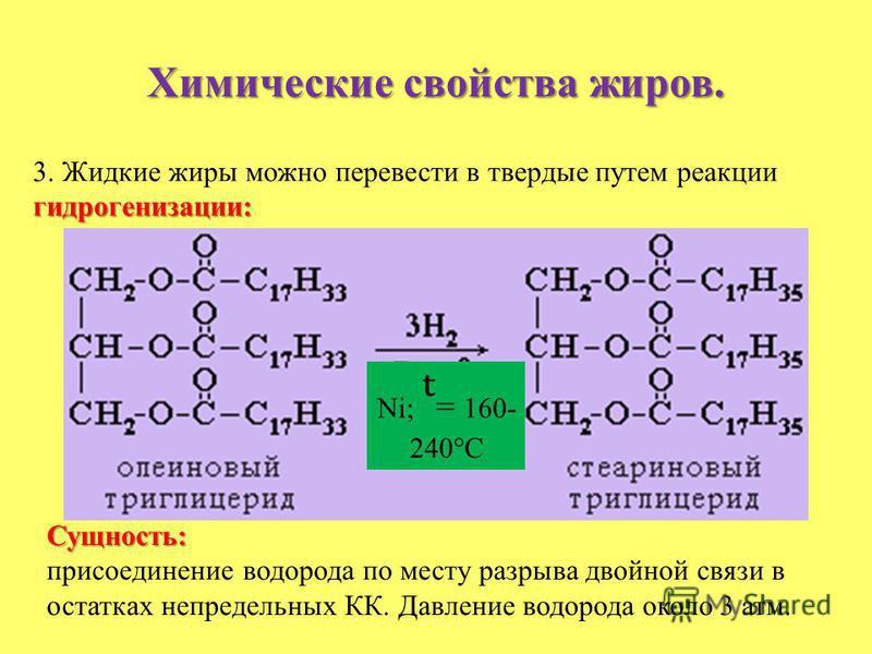 Химические свойства жиров. гидрогенизации: 3. Жидкие жиры можно перевести в твердые путем реакции гидрогенизации: Ni; = 160- 240°С Сущность: присоединение водорода по месту разрыва двойной связи в остатках непредельных КК. Давление водорода около 3 а