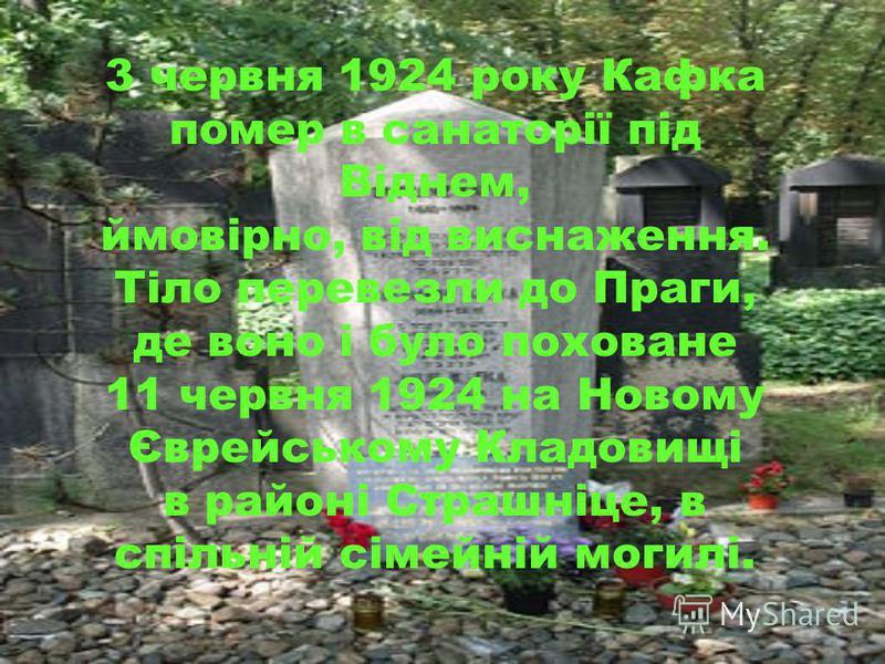 3 червня 1924 року Кафка помер в санаторії під Віднем, ймовірно, від виснаження. Тіло перевезли до Праги, де воно і було поховане 11 червня 1924 на Новому Єврейському Кладовищі в районі Страшніце, в спільній сімейній могилі.