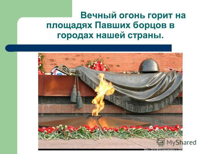 Вечный огонь горит на площадях Павших борцов в городах нашей страны.