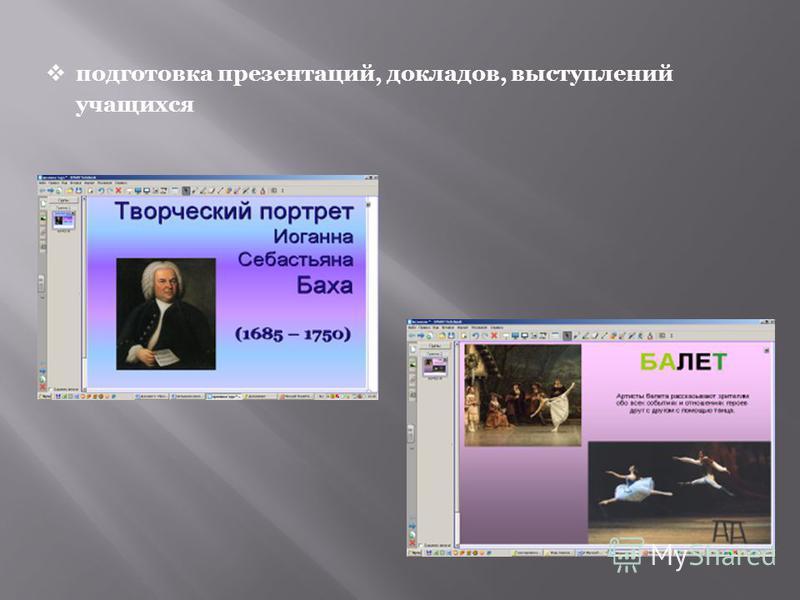 подготовка презентаций, докладов, выступлений учащихся