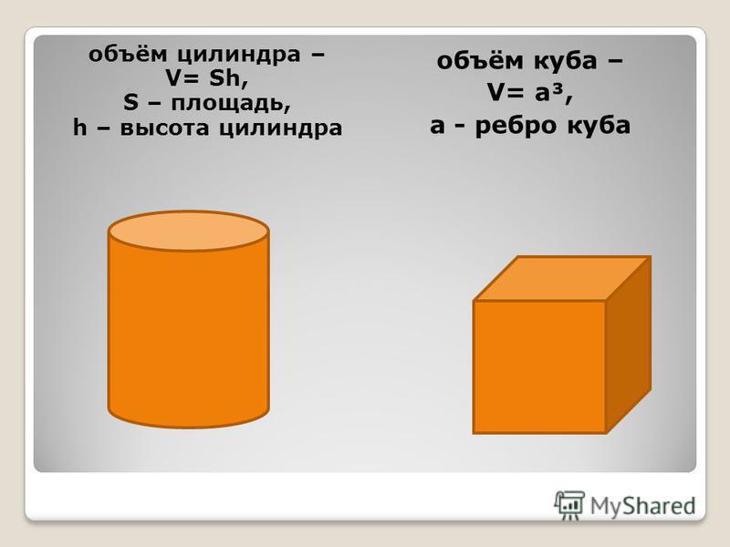 объём цилиндра – V= Sh, S – площадь, h – высота цилиндра объём куба – V= а³, а - ребро куба