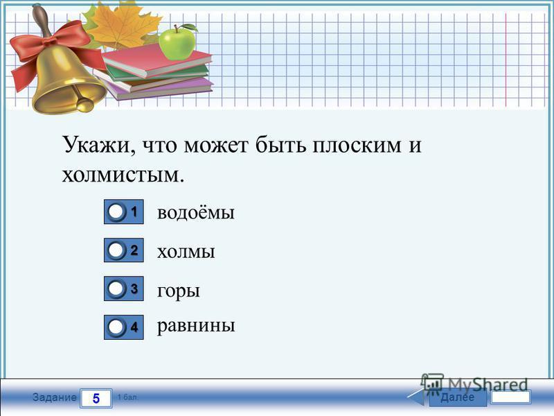 FokinaLida.75@mail.ru Далее 5 Задание 1 бал. 1111 2222 3333 4444 Укажи, что может быть плоским и холмистым. водоёмы холмы горы равнины