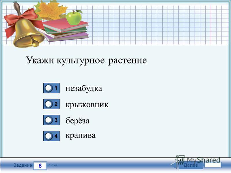 FokinaLida.75@mail.ru Далее 6 Задание 1 бал. 1111 2222 3333 4444 Укажи культурное растение незабудка крыжовник берёза крапива