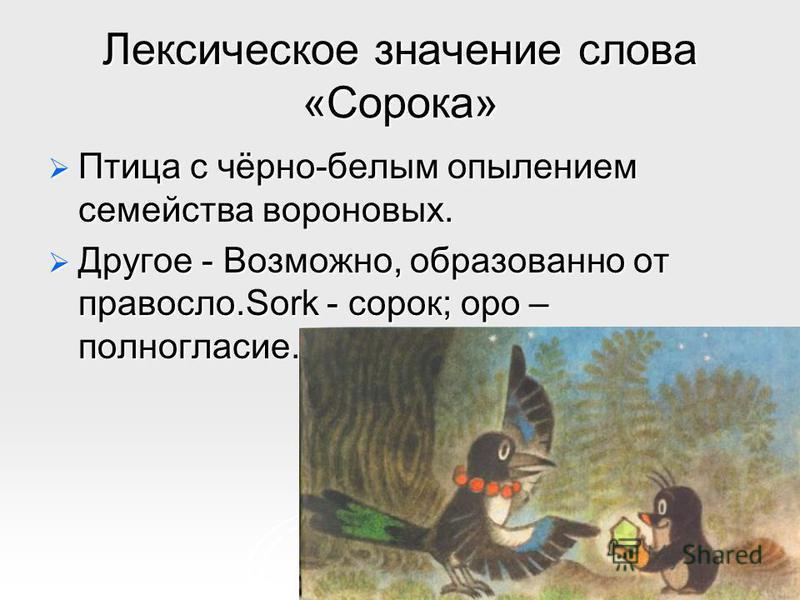Лексическое значение слова «Сооока» Птица с чёрно-белым опылением семейства воооновых. Птица с чёрно-белым опылением семейства воооновых. Другое - Возможно, образованно от правосл.Sork - сооок; ооо – полногласие. Другое - Возможно, образованно от пра
