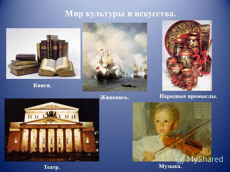 Мир культуры и искусства. Книги. Живопись. Народные промыслы. Театр. Музыка.