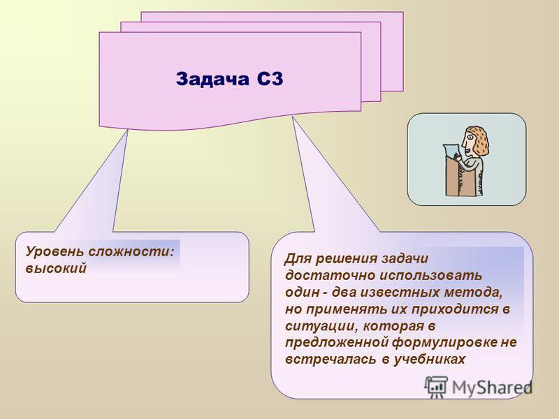Задача С3 Уровень сложности: высокий Для решения задачи достаточно использовать один - два известных метода, но применять их приходится в ситуации, которая в предложенной формулировке не встречалась в учебниках