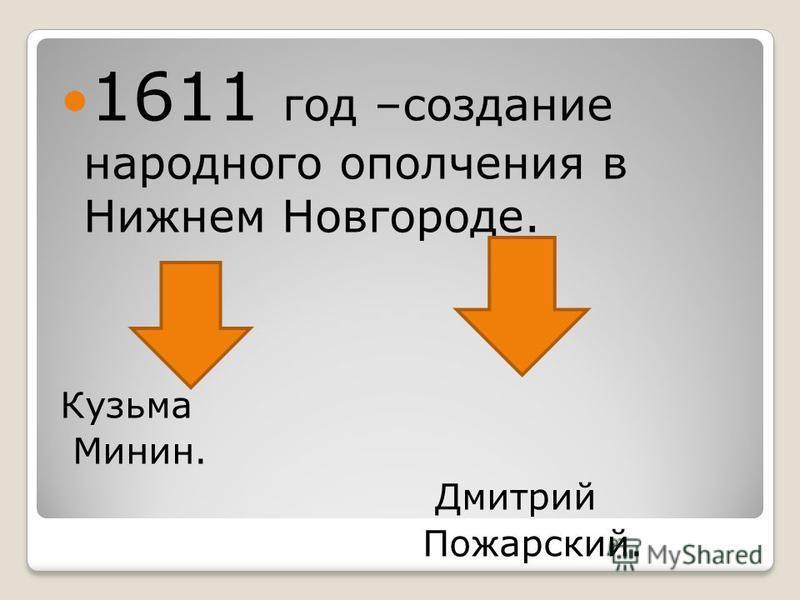 1611 год –создание народного ополчения в Нижнем Новгороде. Кузьма Минин. Дмитрий Пожарский.