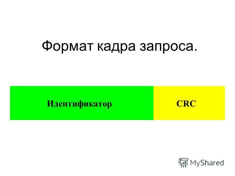 Формат кадра запроса. Идентификатор CRC