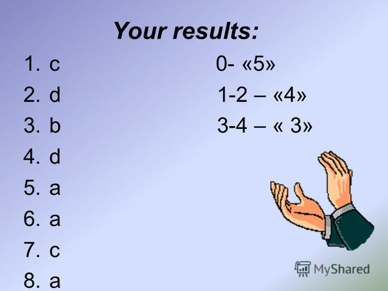 Your results: 1. с 0- «5» 2. d 1-2 – «4» 3. b 3-4 – « 3» 4. d 5. a 6. a 7. c 8.a