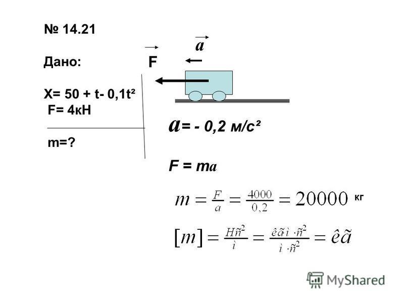 14.21 Дано: Х= 50 + t- 0,1t² F= 4кН m=? F a a = - 0,2 м/с² F = m a кг