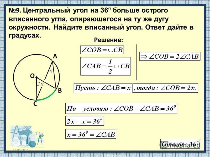 11.08.201516 9. Центральный угол на 36 0 больше острого вписанного угла, опирающегося на ту же дугу окружности. Найдите вписанный угол. Ответ дайте в градусах. O Решение: A B C