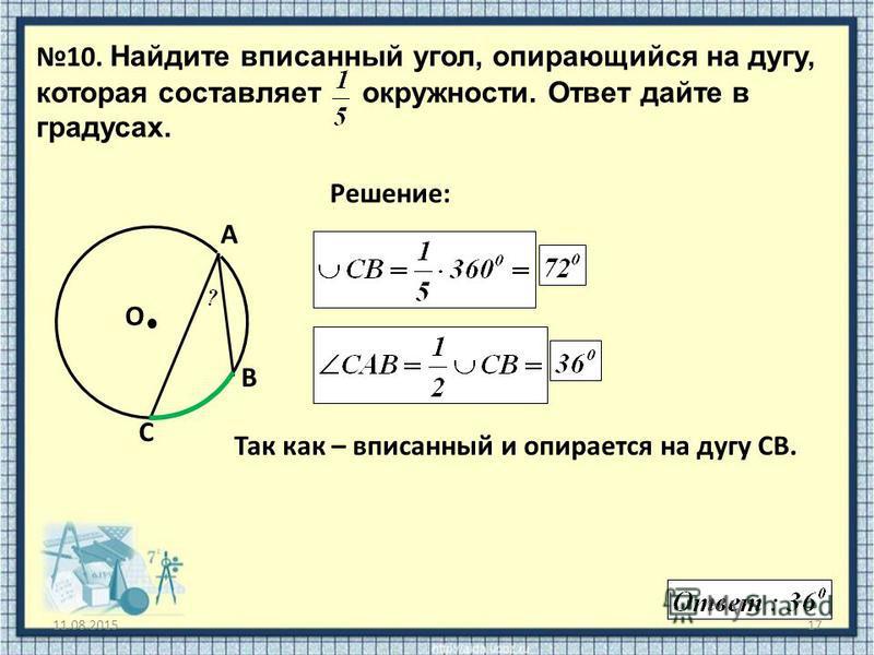 11.08.201517 10. Найдите вписанный угол, опирающийся на дугу, которая составляет окружности. Ответ дайте в градусах. O Решение: A B C Так как – вписанный и опирается на дугу СВ.