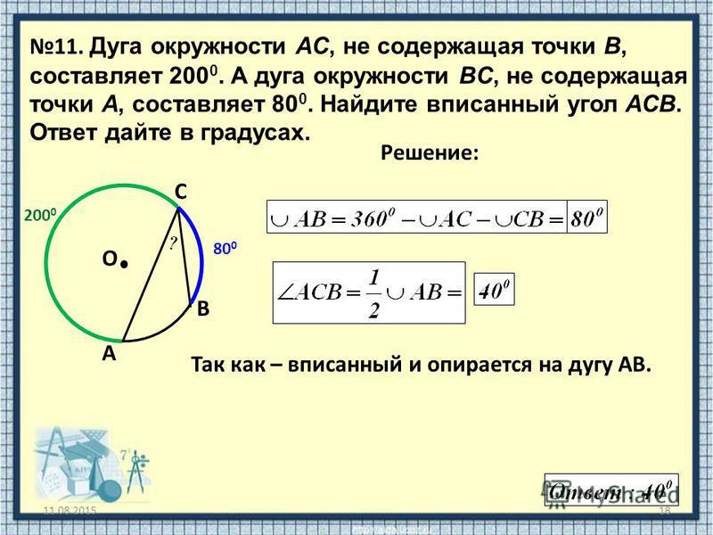 11.08.201518 11. Дуга окружности AC, не содержащая точки B, составляет 200 0. А дуга окружности BC, не содержащая точки A, составляет 80 0. Найдите вписанный угол ACB. Ответ дайте в градусах. O Решение: A B C Так как – вписанный и опирается на дугу А