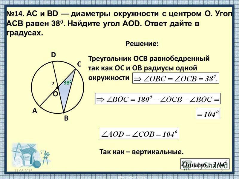 Треугольник ОСВ равнобедренный так как ОС и ОВ радиусы одной окружности 11.08.201521 14. АС и ВD диаметры окружности с центром O. Угол ACB равен 38 0. Найдите угол AOD. Ответ дайте в градусах. O Решение: A B C Так как – вертикальные. 38 0 D