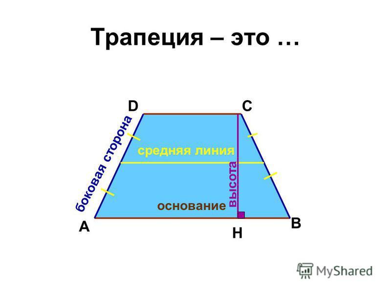 Трапеция – это … А DС В основание боковая сторона средняя линия Н высота