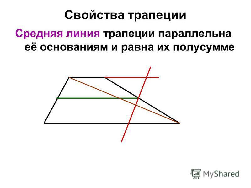 Свойства трапеции Средняя линия трапеции параллельна её основаниям и равна их полусумме