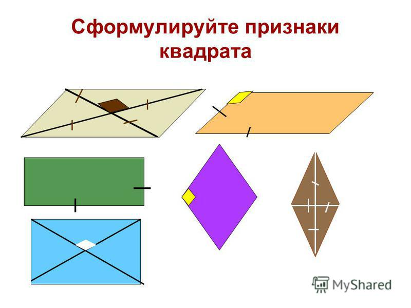 Сформулируйте признаки квадрата