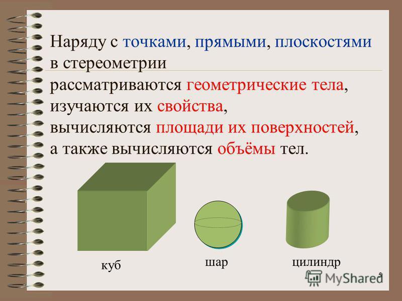 5 Наряду с точками, прямыми, плоскостями в стереометрии рассматриваются геометрические тела, изучаются их свойства, вычисляются площади их поверхностей, а также вычисляются объёмы тел. шар куб цилиндр