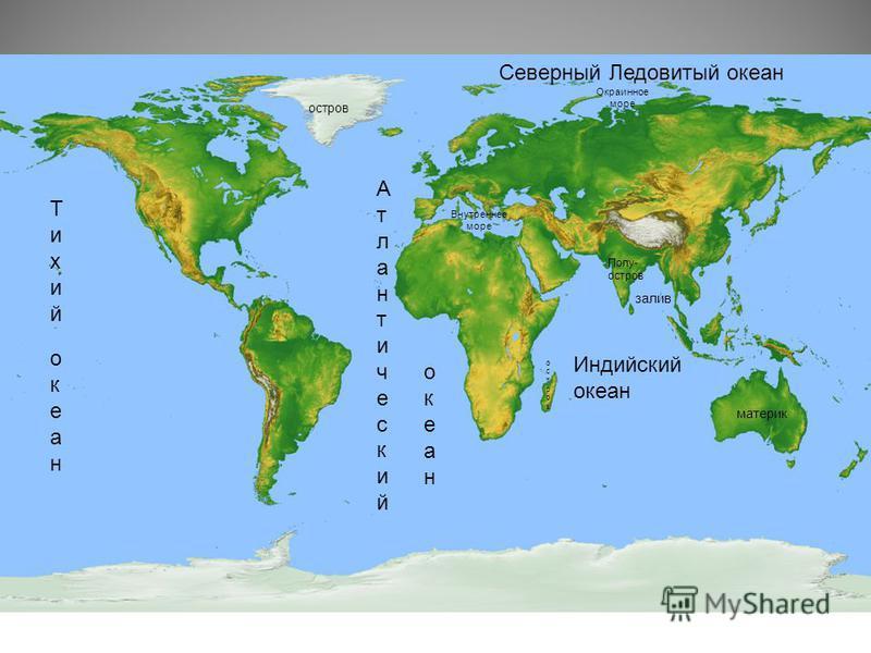 материк остров Полу- остров залив остров Атлантический Атлантический Тихий Тихий океан Индийский океан Северный Ледовитый океан Внутреннее море Окраинное море океан