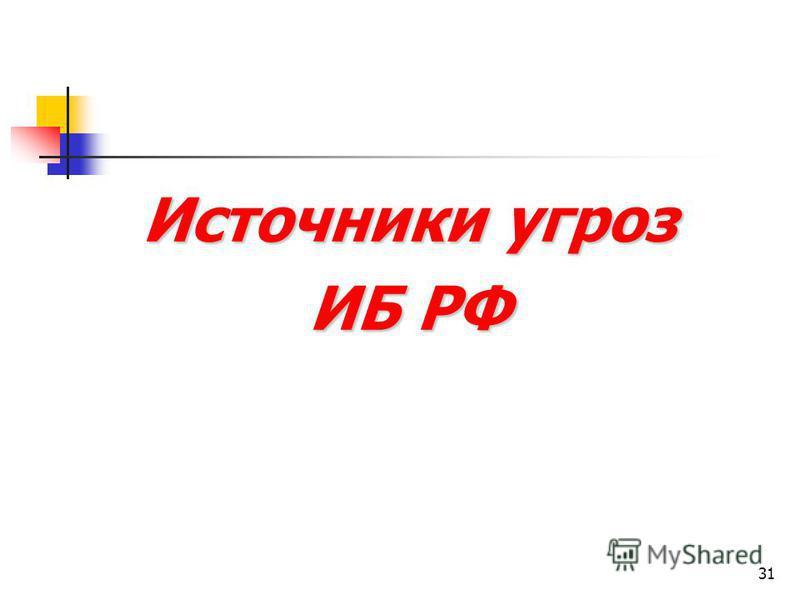 31 Источники угроз ИБ РФ