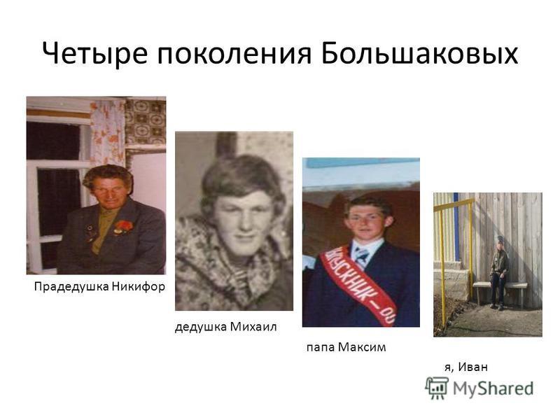 Четыре поколения Большаковых Прадедушка Никифор дедушка Михаил папа Максим я, Иван