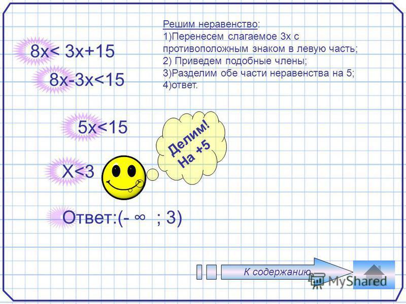 4 8 х< 3x+15 Ответ:(- ; 3) 8x-3x<15 5x<15 X<3 Делим! На +5 К содержанию Решим неравенство: 1)Перенесем слагаемое 3 х с противоположным знаком в левую часть; 2) Приведем подобные члены; 3)Разделим обе части неравенства на 5; 4)ответ.