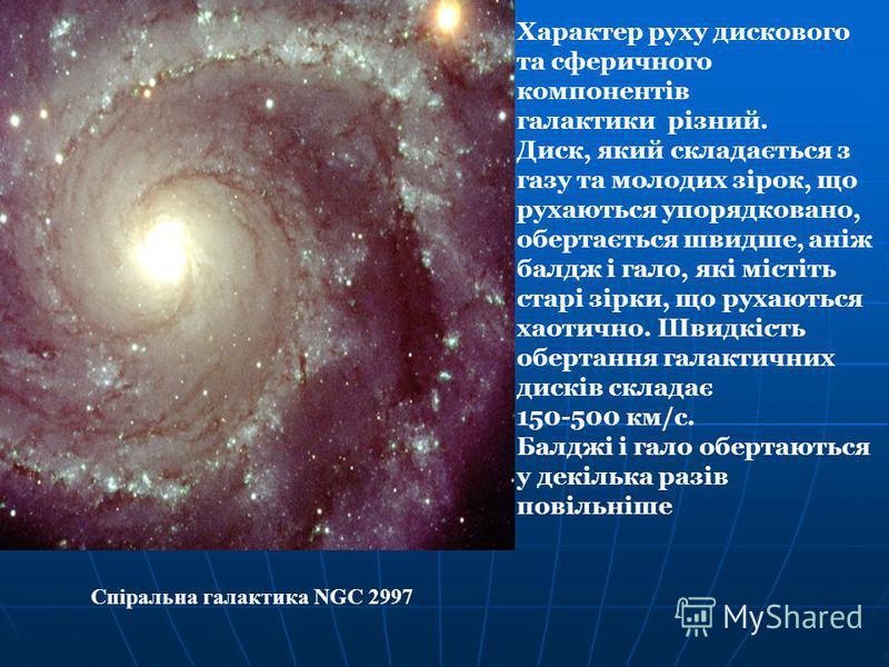 Характер руху дискового та сферичного компонентів галактики різний. Диск, який складається з газу та молодих зірок, що рухаються упорядковано, обертається швидше, аніж балдж і гало, які містіть старі зірки, що рухаються хаотично. Швидкість обертання