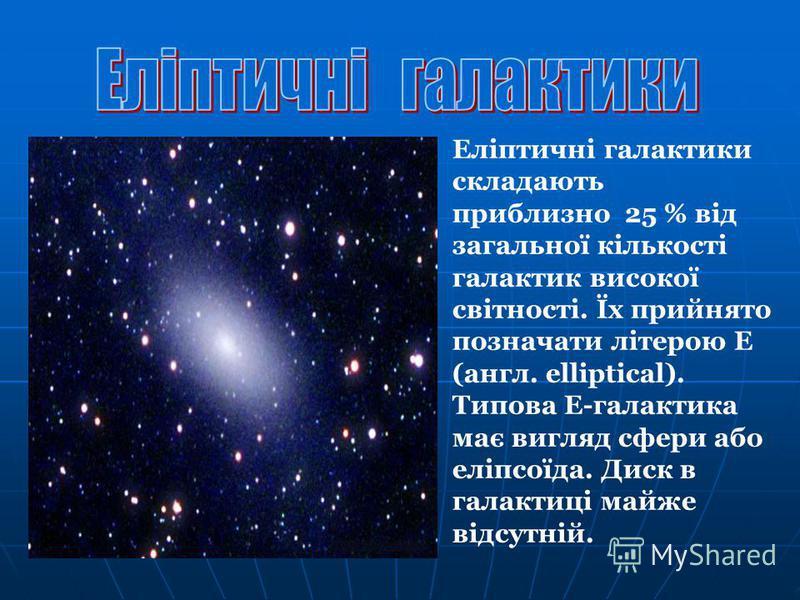 Еліптичні галактики складають приблизно 25 % від загальної кількості галактик високої світності. Їх прийнято позначати літерою E (англ. elliptical). Типова Е-галактика має вигляд сфери або еліпсоїда. Диск в галактиці майже відсутній.