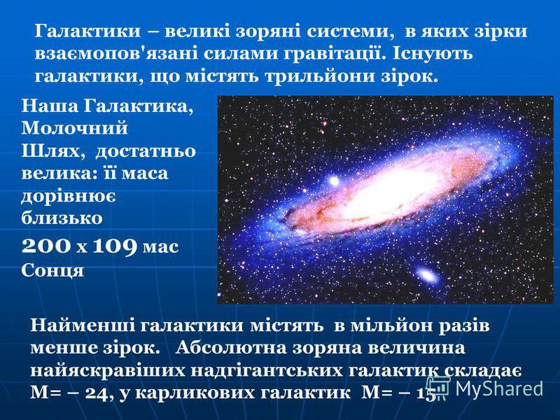 Найменші галактики містять в мільйон разів менше зірок. Абсолютна зоряна величина найяскравіших надгігантських галактик складає М= – 24, у карликових галактик М= – 15 Галактики – великі зоряні системи, в яких зірки взаємопов'язані силами гравітації.