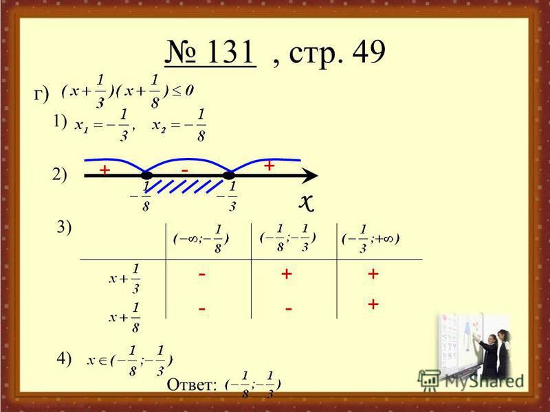 131, стр. 49 г) 1) 2) 3) 4) Ответ: x - - + - + + + - +