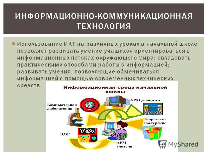 Использование ИКТ на различных уроках в начальной школе позволяет развивать умение учащихся ориентироваться в информационных потоках окружающего мира; овладевать практическими способами работы с информацией; развивать умения, позволяющие обмениваться
