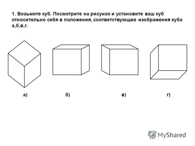 1. Возьмите куб. Посмотрите на рисунок и установите ваш куб относительно себя в положения, соответствующие изображения куба а,б,в,г. а) б) в) г)