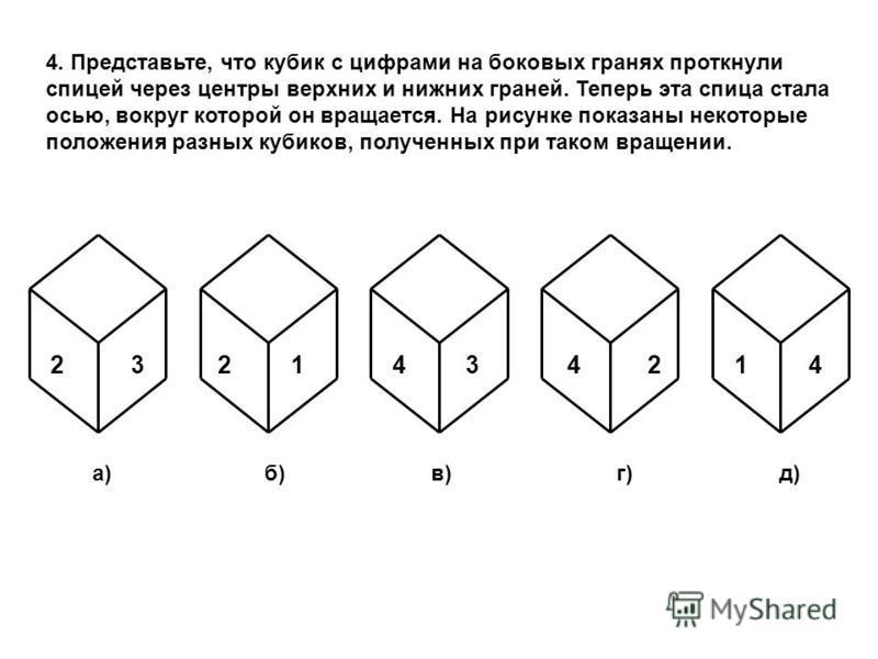 4. Представьте, что кубик с цифрами на боковых гранях проткнули спицей через центры верхних и нижних граней. Теперь эта спица стала осью, вокруг которой он вращается. На рисунке показаны некоторые положения разных кубиков, полученных при таком вращен