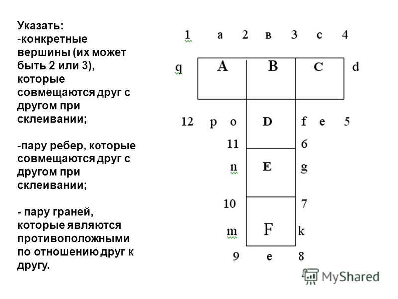 Указать: -конкретные вершины (их может быть 2 или 3), которые совмещаются друг с другом при склеивании; -пару ребер, которые совмещаются друг с другом при склеивании; - пару граней, которые являются противоположными по отношению друг к другу.