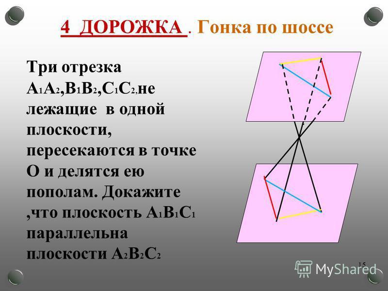 4 ДОРОЖКА. Гонка по шоссе Три отрезка А 1 А 2,В 1 В 2,С 1 С 2, не лежащие в одной плоскости, пересекаются в точке О и делятся ею пополам. Докажите,что плоскость А 1 В 1 С 1 параллельна плоскости А 2 В 2 С 2 15