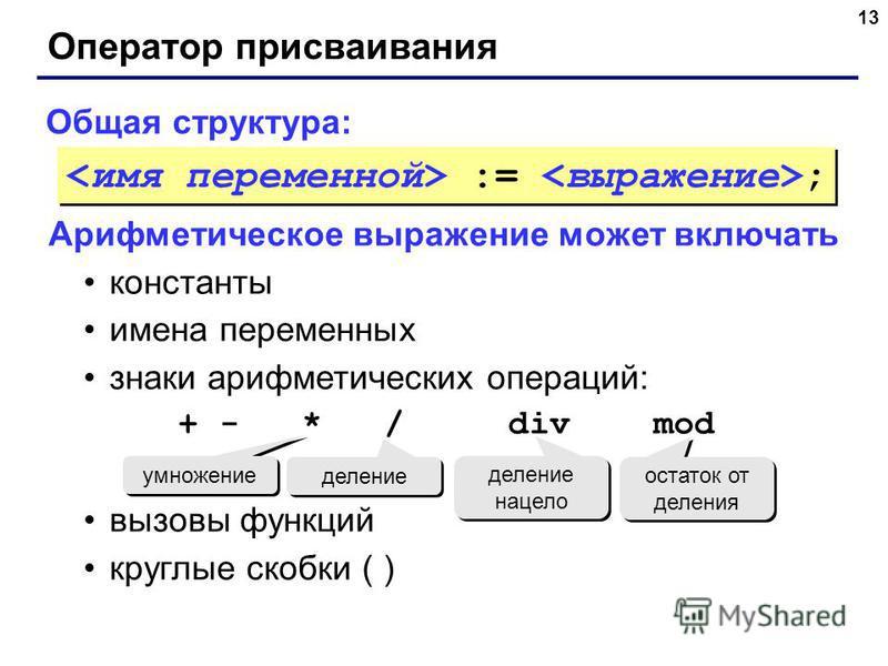 13 Оператор присваивания Общая структура: Арифметическое выражение может включать константы имена переменных знаки арифметических операций: + - * / div mod вызовы функций круглые скобки ( ) умножение деление деление нацело остаток от деления := ;