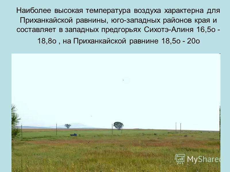 Наиболее высокая температура воздуха характерна для Приханкайской равнины, юго-западных районов края и составляет в западных предгорьях Сихотэ-Алиня 16,5o - 18,8o, на Приханкайской равнине 18,5o - 20o