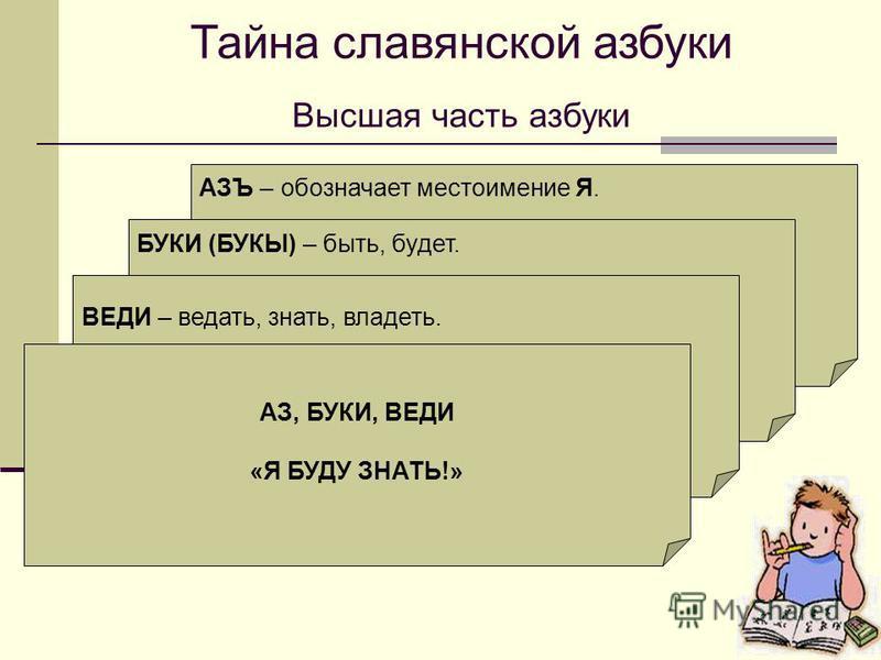 Тайна славянской азбуки Высшая часть азбуки АЗЪ – обозначает местоимение Я. Коренной смысл – изначально, начинать, начало. Начинать с азов – начинать с начала. Числовое значение – 1. БУКИ (БУКЫ) – быть, будет. Не имеет числового значения. В слове БУК