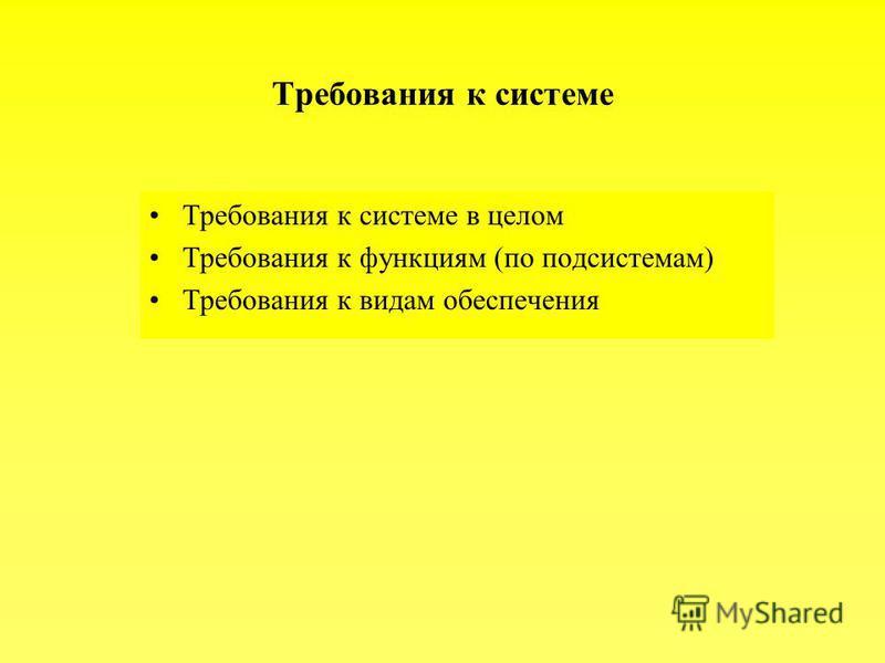 Требования к системе Требования к системе в целом Требования к функциям (по подсистемам) Требования к видам обеспечения