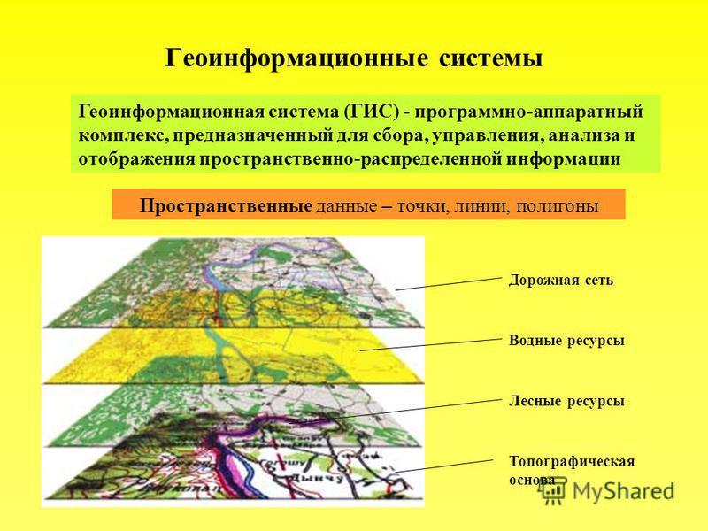 Геоинформационная система (ГИС) - программно-аппаратный комплекс, предназначенный для сбора, управления, анализа и отображения пространственно-распределенной информации Пространственные данные – точки, линии, полигоны Топографическая основа Лесные ре