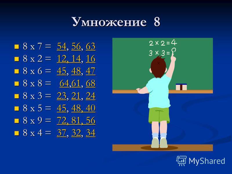 Умножение 8 8 х 7 = 54, 56, 63 8 х 7 = 54, 56, 63545663545663 8 х 2 = 12, 14, 16 8 х 2 = 12, 14, 1612, 141612, 1416 8 х 6 = 45, 48, 47 8 х 6 = 45, 48, 47454847454847 8 х 8 = 64,61, 68 8 х 8 = 64,61, 68646168646168 8 х 3 = 23, 21, 24 8 х 3 = 23, 21, 2